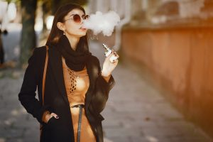 Stylish Girl Smoking An E Cigarette
